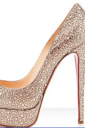 Luxury Diamond Bridal Weddding Shoes high heels rhinestone platform Prom pumps red soles shoes