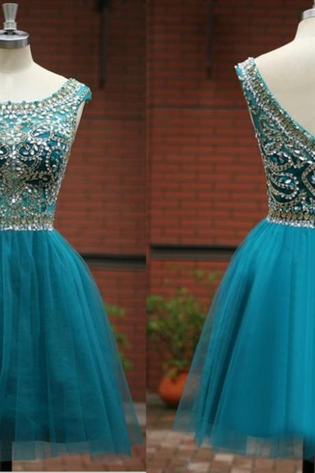 Custom Made High Quality Handmade Beading A-Line O-Neck Chiffon Short/Mini Homecoming Dress,Short/Mini Graduation Dress,Sequins Prom Dress,Graduation Dress 2015