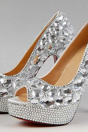 Peep Toe Crystal High Heel Wedding Shoes Silver Bridal Dress Shoes Women Nightclub Party Banquet red bottom Dress Shoes