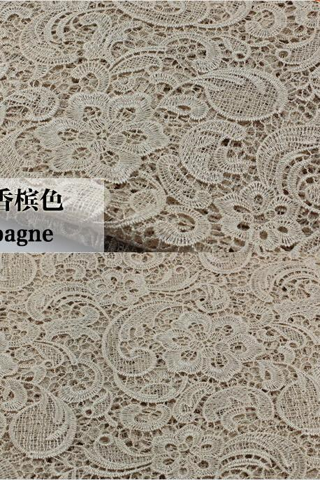 Champagne Color Cord Lace Fabric For Women Dresses Water Soluble Guipure Lace 120 cm Width