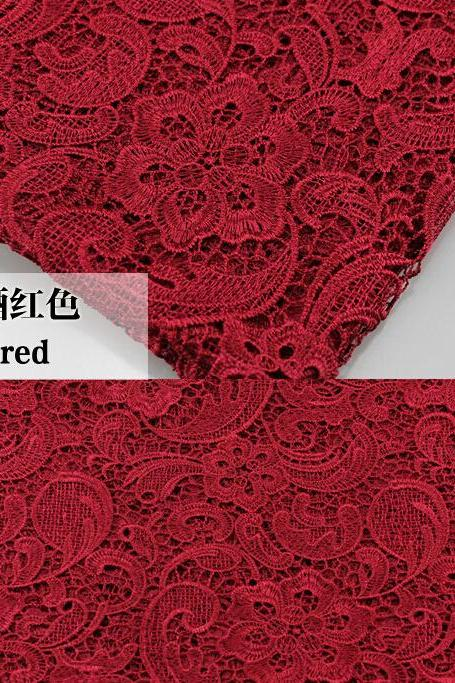 Wine Red Cord Lace Fabric For Women Dresses Water Soluble Guipure Lace 120 cm Width