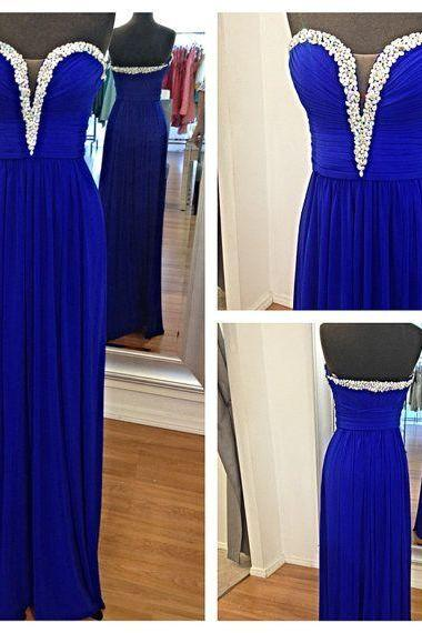 2016 Custom Made Royal Blue Beading Chiffon Celebrity Dresses, Long Evening Dresses,Sweet Dress,Prom Dresses,Party Dress/Cocktail Dress