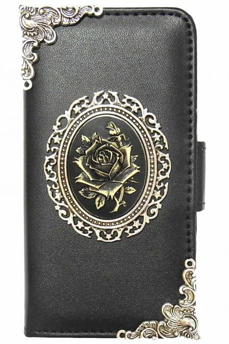 Rose Vintage iPhone 6s Wallet case,iphone 6s 4.7 leather case, Vintage iphone 6s 4.7 Flip Case,Victorian Rose iPhone 6s PLUS leather wallet case cover Black