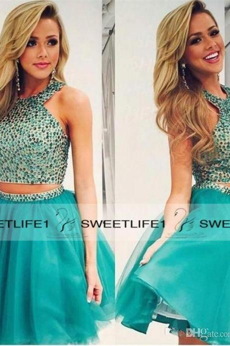 Short Beaded Homecoming Dresses Two Pieces Sexy Mini Green Party Prom Dresses Cheap Crystals Tutu Halter Neck Custom Made Plus Size