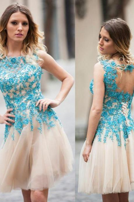Beads Applique Short Homecoming Prom Dresses Sheer Crew Neck Open Backless Pleating Knee-Length Graduation Gowns New Arrival