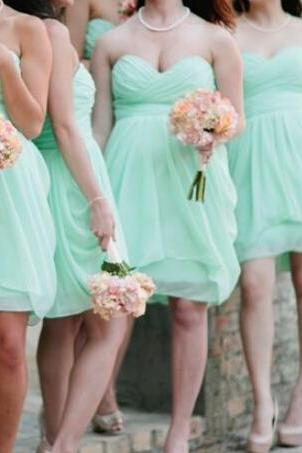 Lovely Strapless Short Mint Bridesmaid Dresses/Graduation Dress,Short Homecoming Dress,Cocktail Dress,Bridesmaid Dresses,Formal Prom Dress