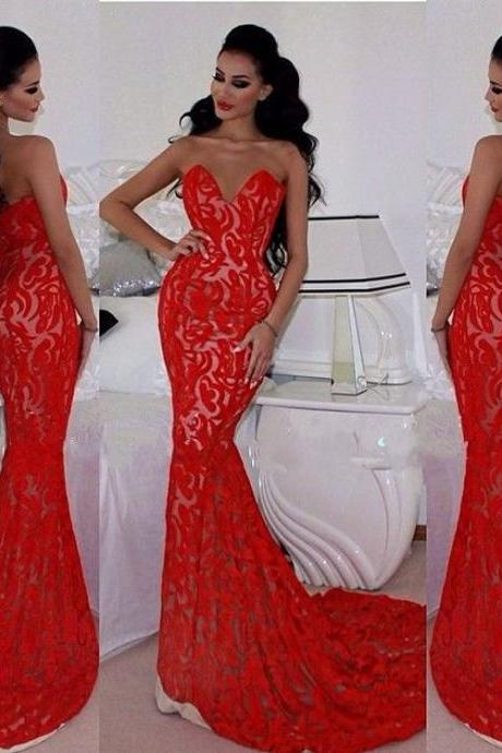 Sexy Lace Floor Length Evening Dresses red lace Elegant prom dreses Mermaid Evening Dresses Sweetheart Evening Dresses