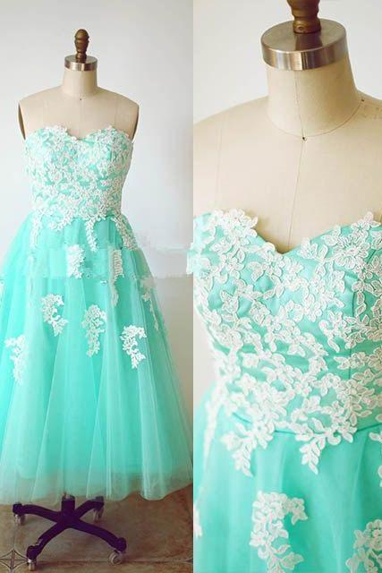Blue Pretty Handmade Turquoise Tulle Tea Length Prom Dress With White Applique Turquoise Prom Dresses Homecoming Dresses 2015 Graduation Dresses