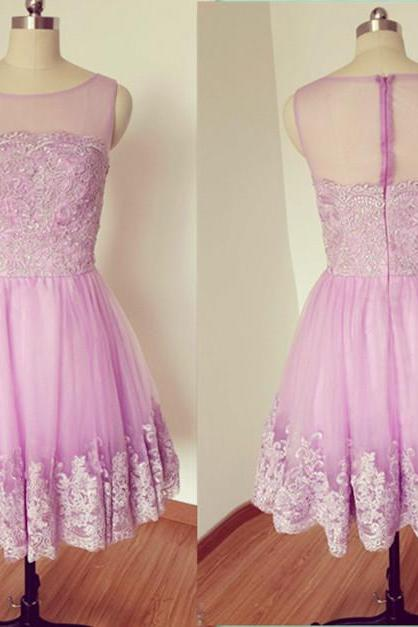 Lavender Lace Applique Homecoming Dress, Round Neck Graduation Dresses, Homecoming Dresses, Short / Mini Chiffon Dress Homecoming