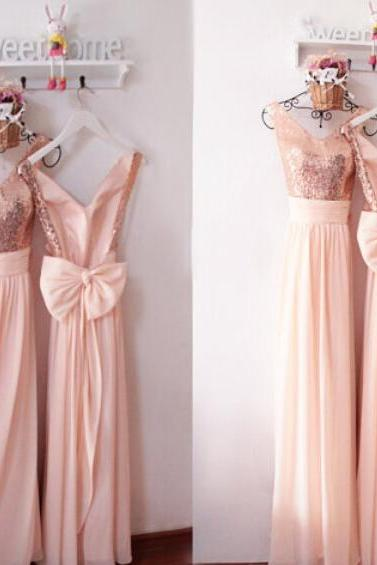 Sexy Backless Prom Dress,Long Prom Sexy Bridesmaid Dresses,Rose Gold Sequin Prom Dress,Sequin Bridesmaid Dresses,Prom Dresses Sexy