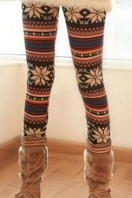 Free Shipping Winter Elastic Waist Fawn Patterned Skinny Legging