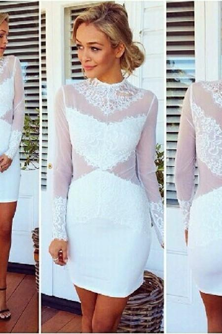 SEXY LONG-SLEEVE LACE DRESS AS107G