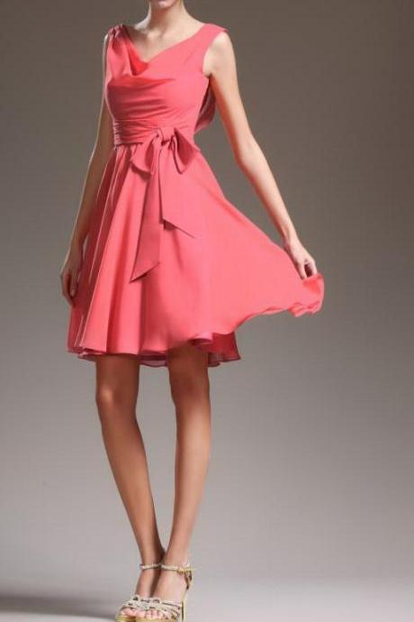 Best Selling Cheap Coral Short Chiffon Bridesmaid Dress, Party Gown Aline Short Party Dress, Custom Made