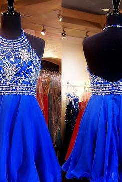 Halter High Neck Homecoming Dress Royal Blue Chiffon Beaded Bodice Mini Length Prom Dress