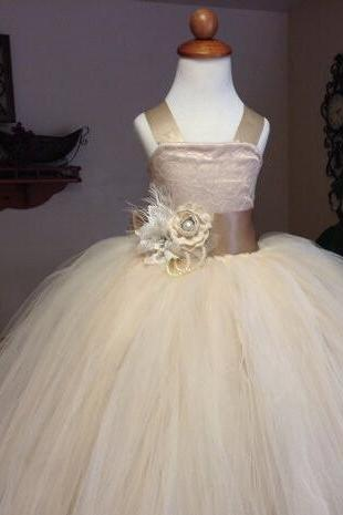 Champagne Color Tulle Puffy Flower Girls Dress With Bow Lace Top Little Girls Ball Gown Kids Wedding Dress Custom Made