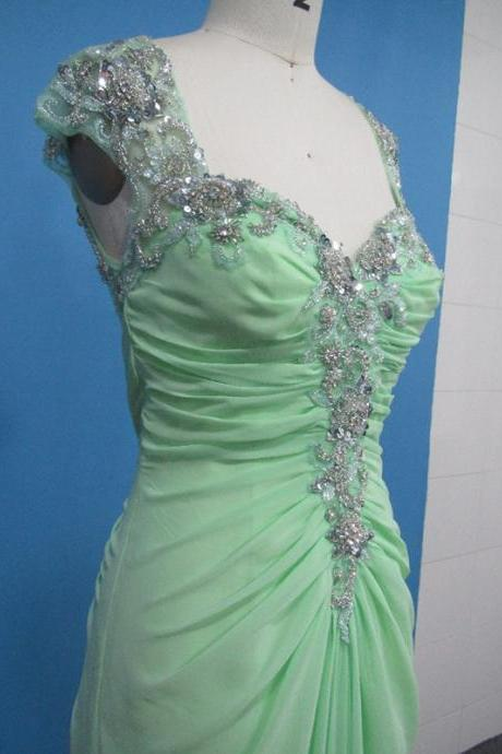 Beaded Stones Mint Green Chiffon Formal Dress Cap Sleeve Open Back Long Women Evening Party Dress Prom Dress Custom Made
