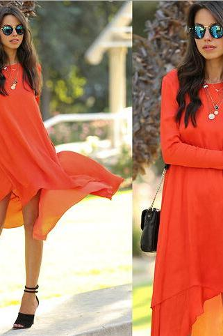 IRREGULAR CHIFFON FASHION DRESS PO1017J