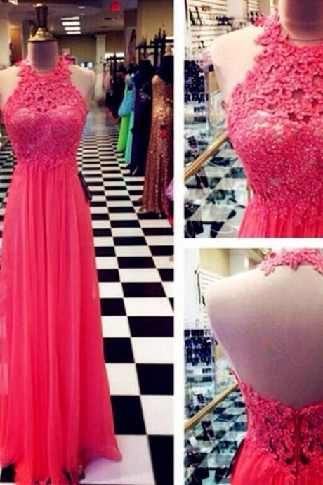 Halter Backless Floor-Length Charming Prom Dresses ,A-Line Lace Floor-Length Evening Dresses, Prom Dresses, Real Made Prom Dresses, On Sale