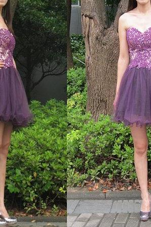 Charming Homecoming Dress Appliques Homecoming Dress tulle Homecoming Dress Cute Short Prom Dress
