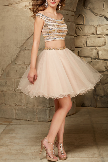 Charming Homecoming Dress 2 Pieces Homecoming Dress Beading Homecoming Dress Short Prom Dress