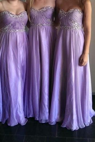 Charming Bridesmaid Dress Strapless Bridesmaid Dress Chiffon Bridesmai A-Line Prom Dress With Sequined