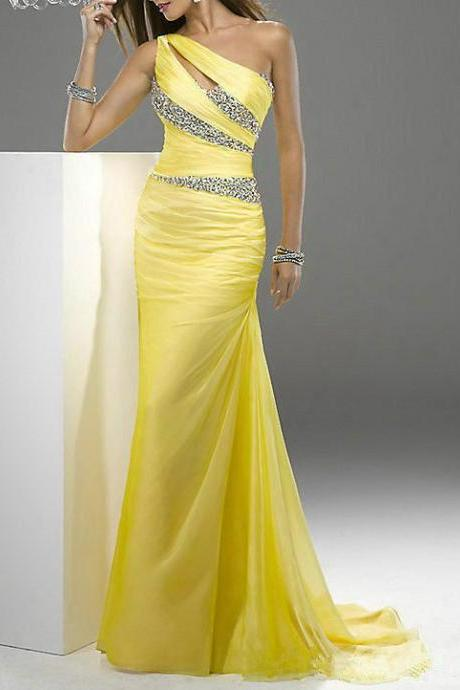 Yellow Beaded Fishtail Slim Fashion Shoulder Bridesmaid Long Prom Dress / Cocktail Evening Dress / Pageant Dress