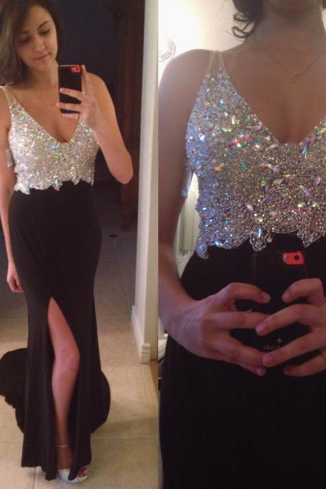 Charming Prom Dress V-Neck Prom Dress Mermaid Prom Dress Beading Prom Dress Satin Graduation Dress
