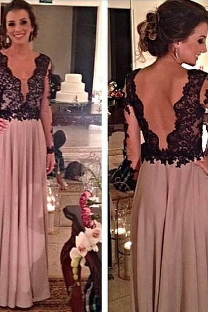 Charming Prom Dress V-Neck Prom Dress A-Line Prom Dress Long Sleeve Prom Dress Chiffon Prom Dress Backless Prom Dress