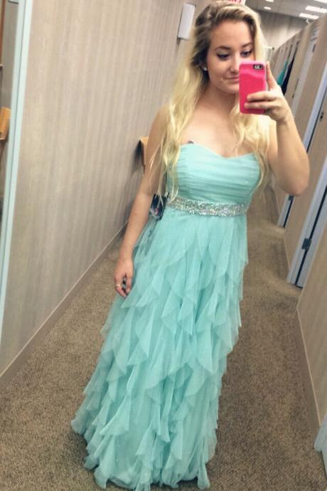 Charming Prom Dress Strapless Prom Dress A-Line Prom Dress Sequined Prom Dress Tulle Prom Dress