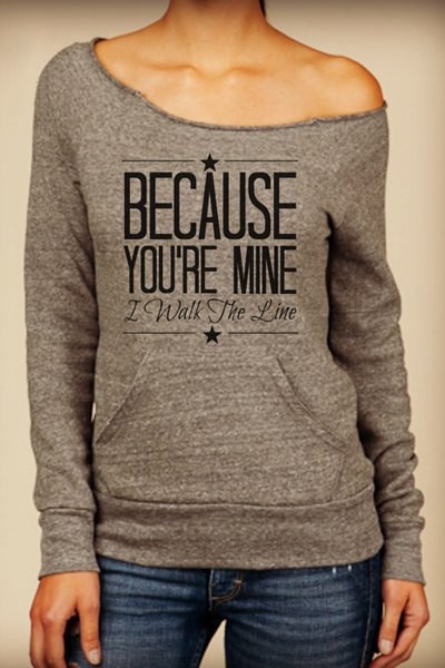 'Because You're Mine' Letter Printed Graphic Long Sleeve Top