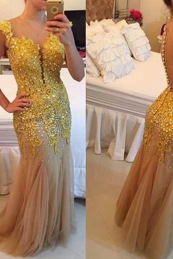 High Quality Prom Dress Charming Prom Dress V-Neck Prom Dress Appliques Prom Dress sexy Prom Dress