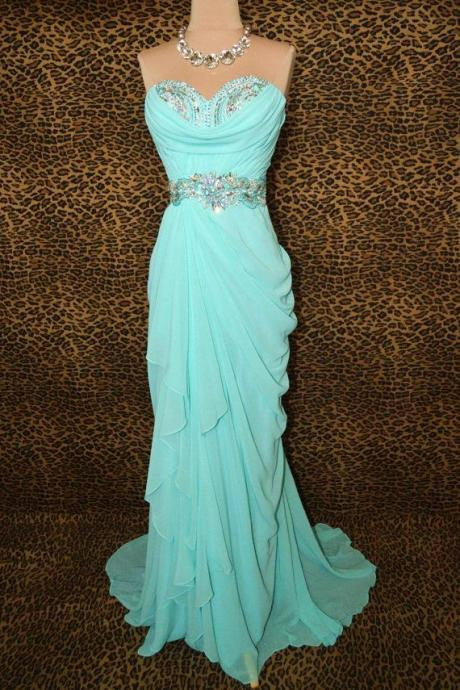 Charming Prom Dress Sequined Prom Dress Mermaid Prom Dress Chiffon Prom Dress Strapless Prom Dress