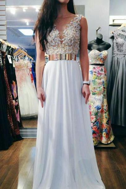 Charming Prom Dress Chiffon Prom Dress A-Line Prom Dress V-Neck Prom Dress Appliques Prom Dress