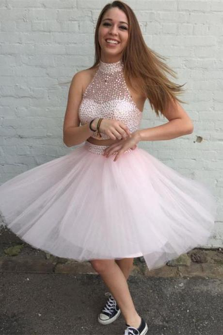 High Neck Pink Short Party Prom Dresses Two Pieces Beaded Mini Tulle Homecoming Dresses