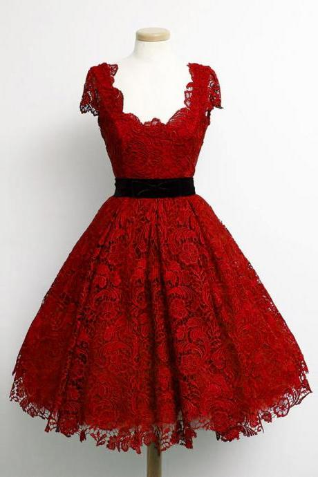 Charming Dark Red Lace Cap Sleeve Prom Party Dresses Elegant Knee Length A Line Plus Size Celebrity Dresses Gala