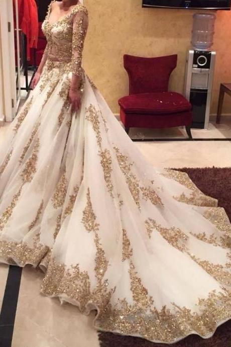 2017 Newest Wedding Dresses A-Line V-Neck Long Sleeves Golden Appliques Sequined Chapel Train Bridal Gowns Custom