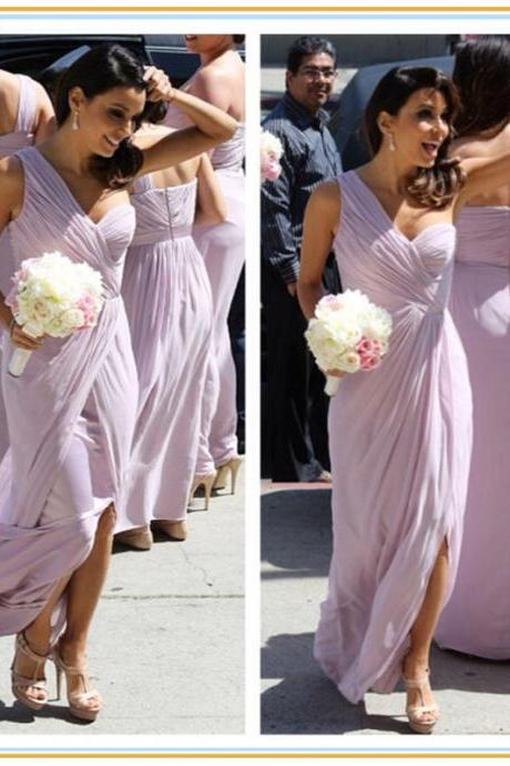 Fashion Shoulder Bridesmaid Dress Long Bridesmaid Dresses Chiffon Bridesmaid Dress Bridesmaid Dress Slit