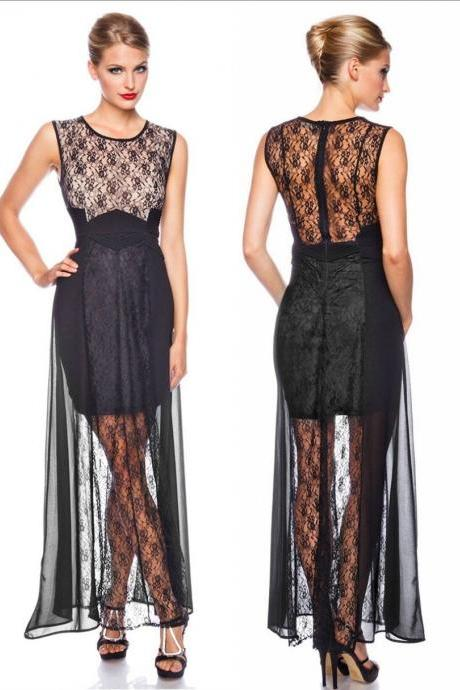 Elegant maxi dress dress evening dress party dress lace long 34 36 38 40