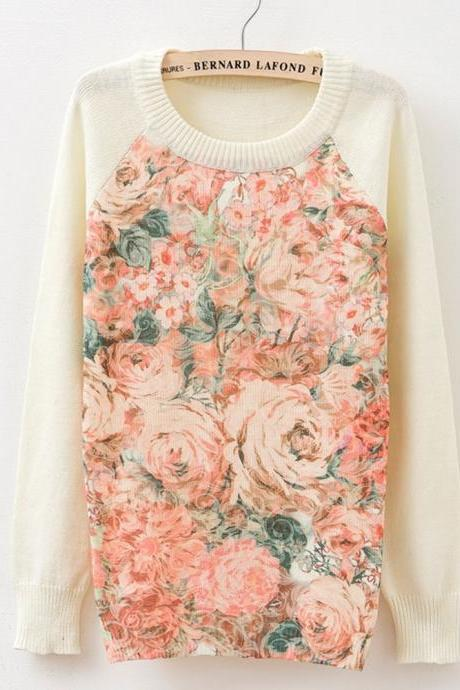 Floral Printed Knitted Sweater
