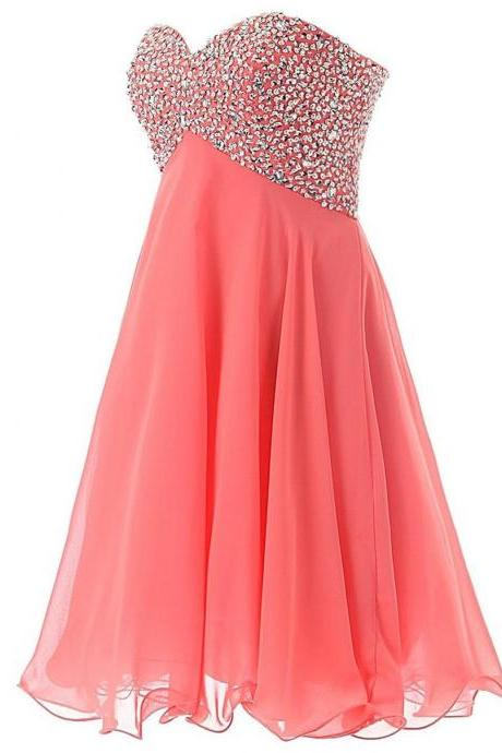 Short Mini Cocktail Dresses Homecoming Dresses Sweetheart Beaded Sequins Lace Up Prom Dresses