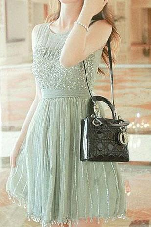 Elegant Sweet Sequin Chiffon Beaded Fringed Sleeveless Party Dress, Homecoming dresses, mother dress,Quinceanera Dresses