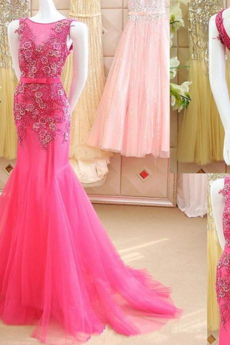 2016 Gorgeous Prom Dress, Mermaid Prom Dress, Luxury Prom Dresses, Flowers Prom Dress ,Shiny Prom Dress, New Arrival Prom Dress ,Beaded Prom Dress, Custom Made Prom Gown