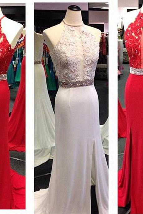 Chiffon Evening Dress, 2016 Evening Dresses, Formal Evening Dress, Lace Evening Dresses ,Handmade Evening Dress, Dress For Evening Halter Evening Dress, Floor-Length Evening Dresses, Long Evening Dress