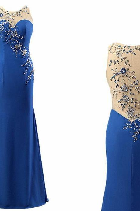 Sexy Prom Dress, High Quality Prom Dress, Beading Patterns Back Prom Dress, Mermaid Prom Dress, Satin Prom Dress ,O-Neck Prom Dress, Long Prom Dress