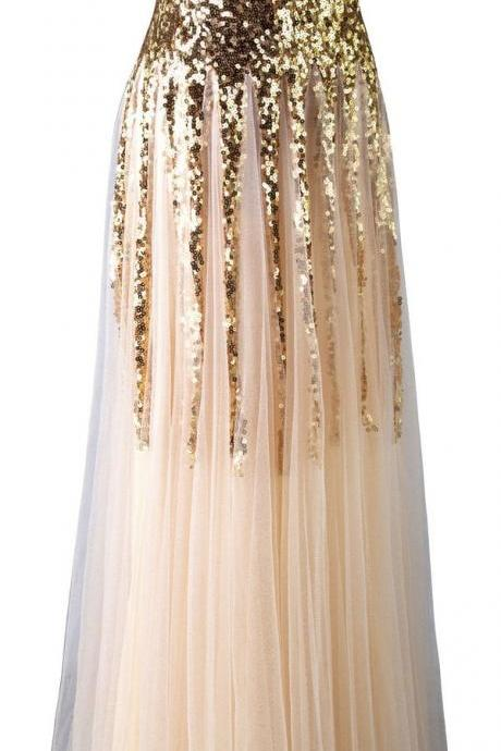 Mermaid Prom Dress ,2016 Prom Dresses ,Formal Prom Dress, Gold Prom Gowns ,Sequins Prom Dress ,Beading Prom Dresses, Floor-Length Prom Dresses ,Long Ceremony Dress ,Fashion Prom Dress