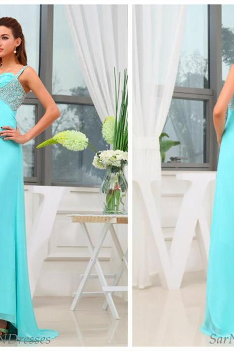 Custom Made Mint Green Chiffon Prom Dresses,Sequined Prom Dress,Spaghetti Dress,Party Gowns,Bridesmaid Dress