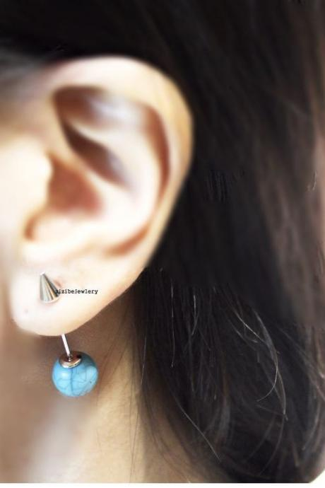 Front and Back earrings, EarJackets ,Spike and Turquoise Bead Long Post Stud Earrings, E0756S