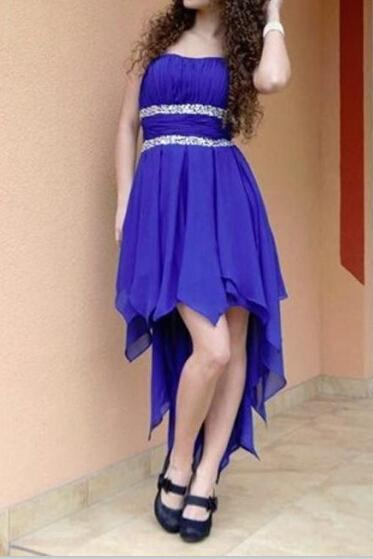 Charming Royal Blue High Low Prom Dress, High Low Homecoming Dresses, Formal Dresses, Evening Dresses