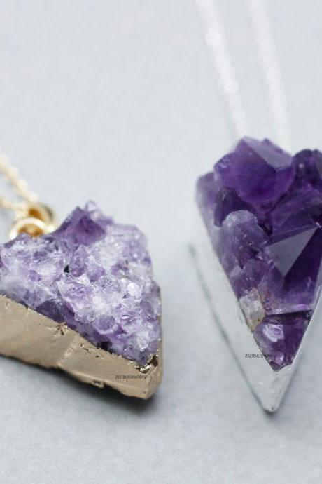 Triangle Amethyst Druzy Pendant Necklace ,Crystal Necklace,Natural Raw,Chunky Stone Gemstone, N0747G