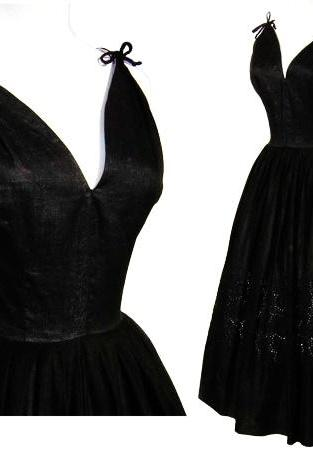Black V Neckline Self Tie Shoulder Straps A Line Short Guest Wedding Dress